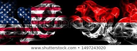 Piłka nożna płomienie banderą Indonezja czarny 3d ilustracji Zdjęcia stock © MikhailMishchenko
