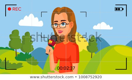 Special Correspondent Performing News Report. Vector Concept. Video Camera Viewfinder. Female Record Stock photo © pikepicture