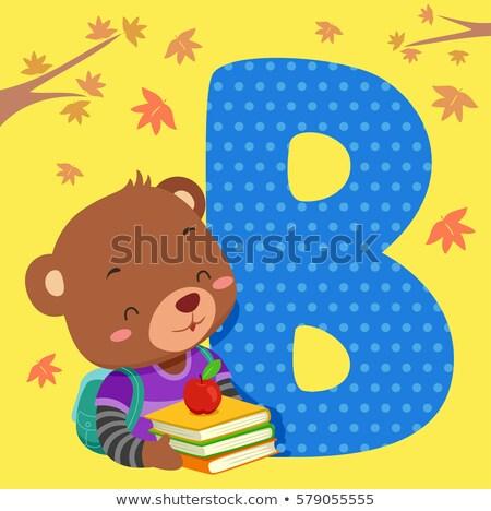 ábécé csempe barnamedve illusztráció olvas könyv Stock fotó © lenm