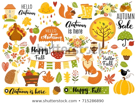 Season sale banner with pumpkin pie and fall leaves  Stock photo © TasiPas