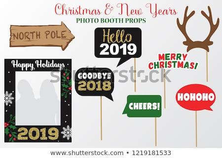 グリーティングカード · 金 · トナカイ · 陽気な · クリスマス - ストックフォト © cienpies