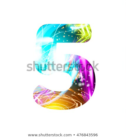 vintage glow signboard with number five design element stock photo © lissantee
