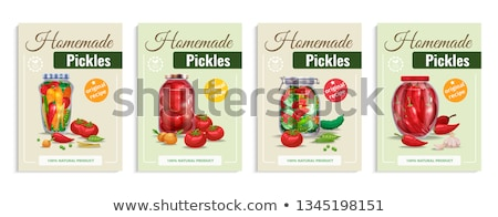 Canned Preserved or Pickled Vegetable Jars Poster Stock photo © robuart
