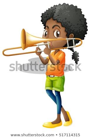 Little girl playing trumbone Stock photo © colematt