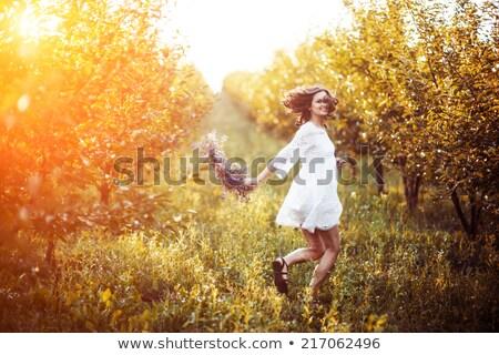femminile · ghirlanda · immagine · felice · indossare · floreale - foto d'archivio © ruslanshramko