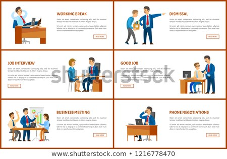 Working Order and Phone Negotiations Vector Poster Stock photo © robuart