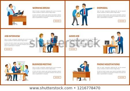 Travail ordre téléphone négociations vecteur affiche Photo stock © robuart