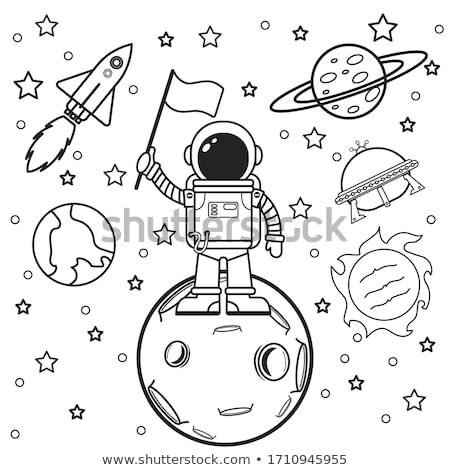 Space theme with aliens and UFO on planet stock photo © colematt