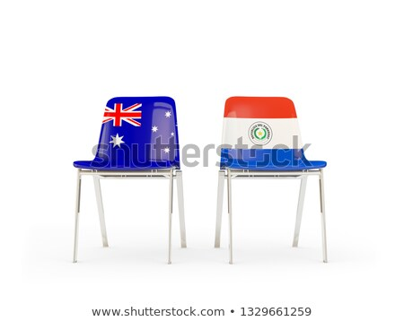 Two chairs with flags of Australia and paraguay Stock photo © MikhailMishchenko
