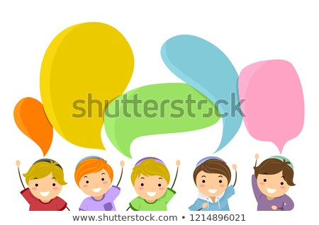 Stickman Kids Jewish Raise Hands Speech Bubbles Stock photo © lenm