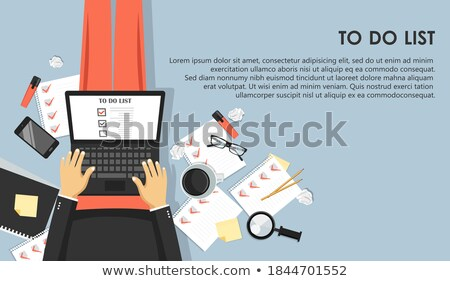 To do list concept. Office work desk with equipment and bunch of papers with red marks. Flat vector  Stock photo © makyzz