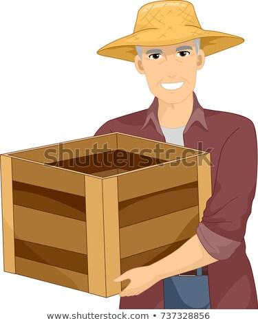 Idős férfi fából készült láda illusztráció gazda Stock fotó © lenm
