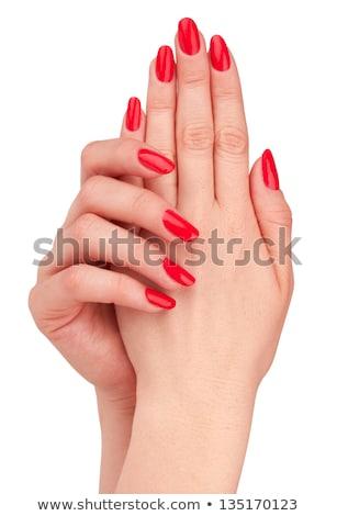 Gyönyörű női ujj körmök piros szög Stock fotó © serdechny