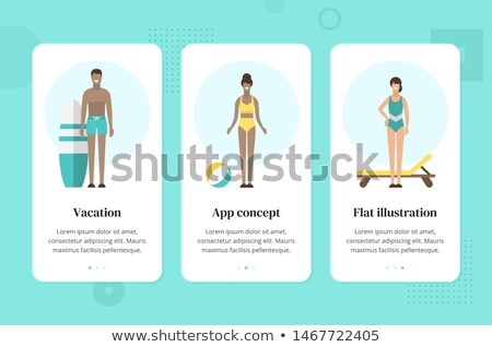 Young Girl Wearing Swimming Suit Surfing Vector Stock photo © robuart