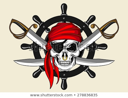 Esboço pirata crânio espada âncora barba Foto stock © netkov1