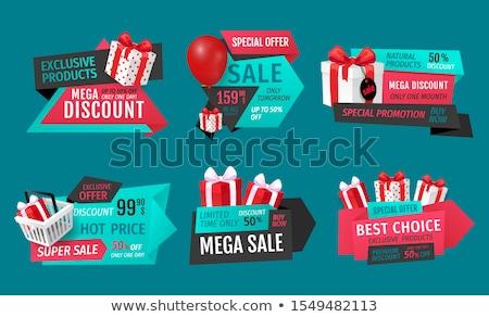 Exkluzív termékek mega bolt szalag vektor Stock fotó © robuart