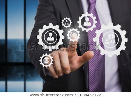 üzletember · áll · emberek · fogaskerekek · grafika · iroda - stock fotó © wavebreak_media