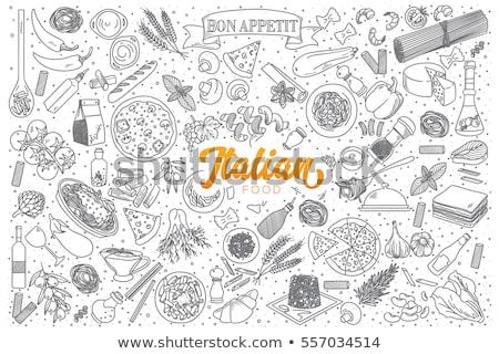 Cartoon line art doodles Italian Food illustration Stock photo © balabolka