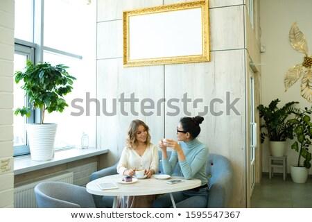Dwa przyjazny młodych kobiet kawy miękkie wygodny Zdjęcia stock © pressmaster