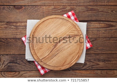 Stół kuchenny deska do krojenia obrus przybory przestrzeni przepis Zdjęcia stock © karandaev