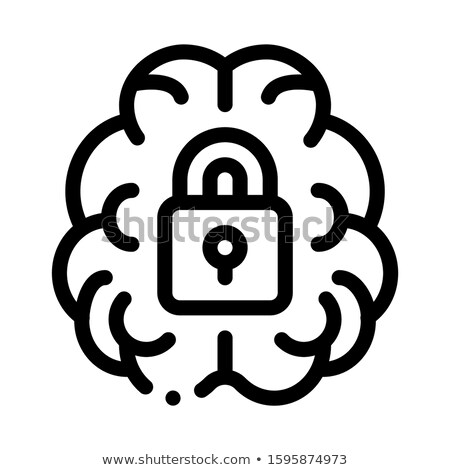Brain And Locked Padlock Icon Outline Illustration Stock photo © pikepicture