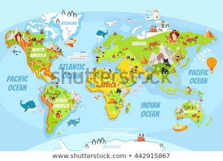 Vicces világutazás illusztráció világ rajz útlevél Stock fotó © adrenalina