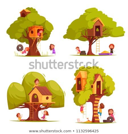ベクトル セット 木材 市 ホーム ホテル ストックフォト © olllikeballoon