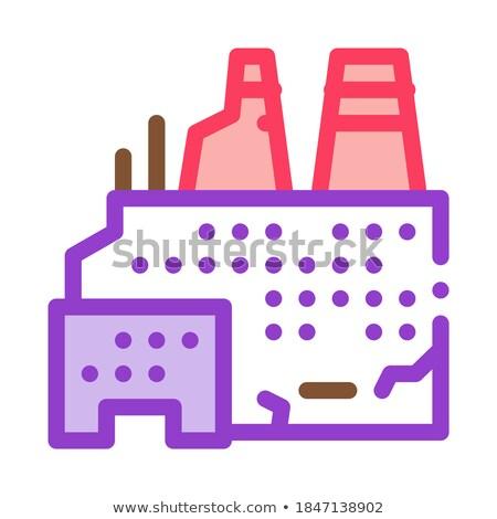 Vernietigd nucleaire energiecentrale icon vector schets Stockfoto © pikepicture
