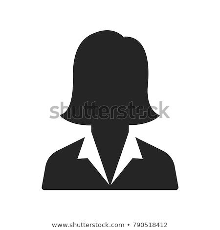 Zwart wit portret zakenvrouw web icon geïsoleerd vrouwelijke Stockfoto © robuart