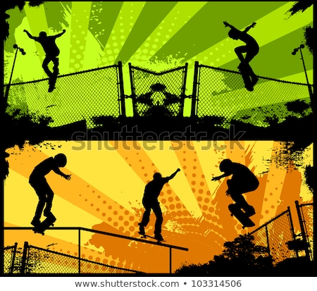 Stock photo: Back Lit Skateboarder Silhouette