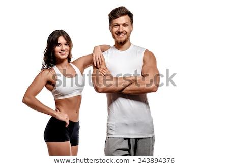 fitness · modelo · posando · jovem · caucasiano · isolado - foto stock © yurok