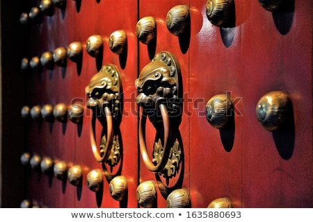 chinês · estilo · portas · cinza · leão · metal - foto stock © jeayesy