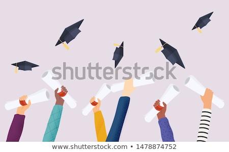 Diploma kéz vörös szalag izolált fehér diák Stock fotó © Pakhnyushchyy