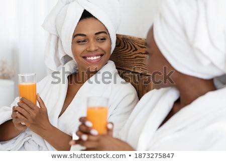 美しい · 女性 · オレンジ · タオル · 白 · 少女 - ストックフォト © dolgachov