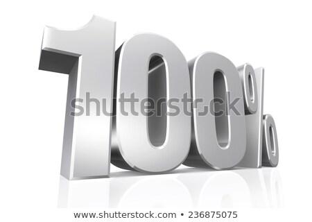 100 por ciento plata 3D aislado números Foto stock © marinini