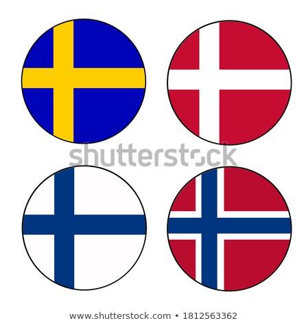 Finlandiya · bayrak · 3d · render · yansıma - stok fotoğraf © perysty
