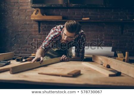 Férfi fa építkezés profi férfi pad Stock fotó © photography33