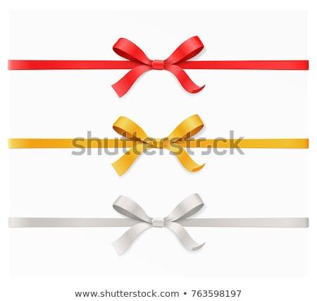 piros · arany · ajándék · szatén · íj · szalagok - stock fotó © adamson