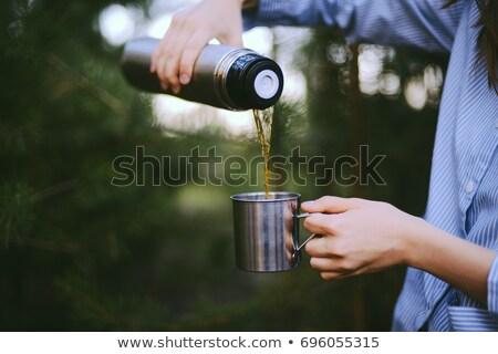 少女 飲料 カップ クローズアップ 肖像 ストックフォト © MikLav