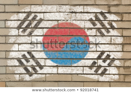 Flag Of South Korea On Grunge Brick Wall Painted With Chalk Foto stock © vepar5