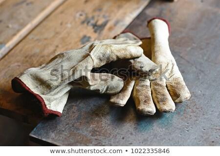 Vecchio sporca guanti coppia isolato bianco Foto d'archivio © ultrapro