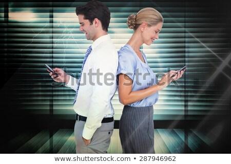 Jeunes femme d'affaires écran tactile blanche travailleur entreprise Photo stock © wavebreak_media