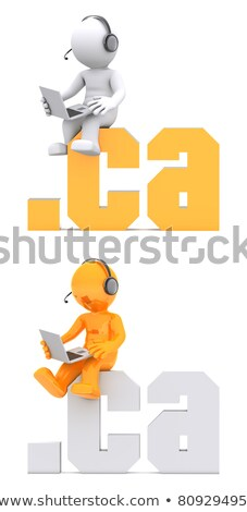 Stock photo: 3d character sitting on .ca domain sign.