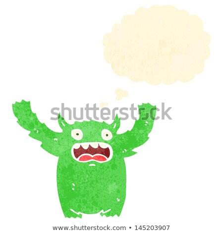 Retro Karikatur haarig Monster Textur isoliert Stock foto © lineartestpilot