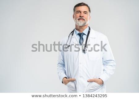 glimlachend · arts · zuurstofmasker · ziekenhuis · kamer - stockfoto © ocskaymark