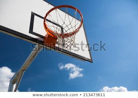Basketbal Blauw zomer hemel pluizig witte Stockfoto © lightpoet