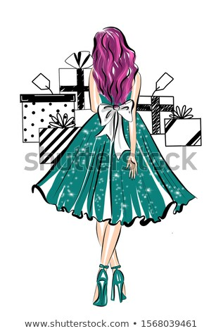 Fashion - Teal Bow Dress Stock photo © dgilder