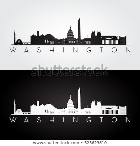 ワシントン スカイライン 家 フラグ 黒 白 ストックフォト © compuinfoto