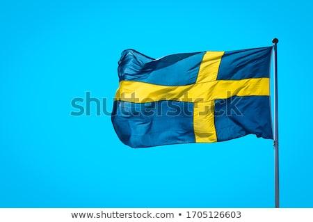 Zweden vlag vlaggestok vliegen wind geïsoleerd Stockfoto © 5xinc