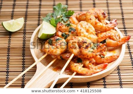Shrimp with lime Stock photo © homydesign